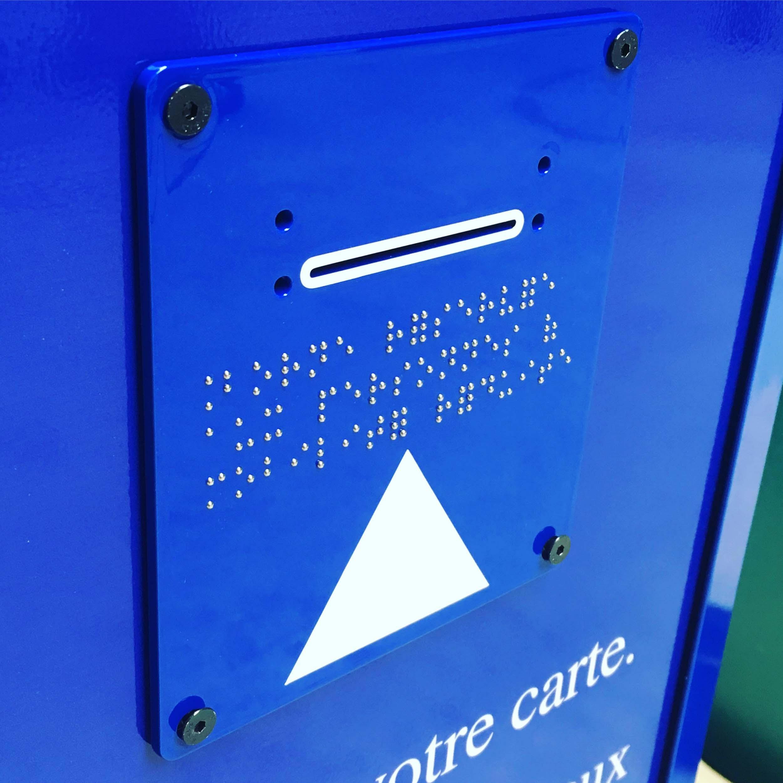 lettres en braille bille inox